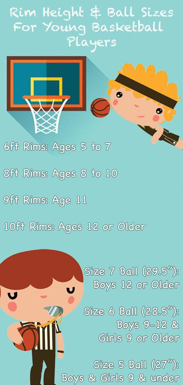 Rim Height And Ball Size Guide Infographic Basketballgamestoday Basketballplay Basketball Players Basketball Basketball Plays