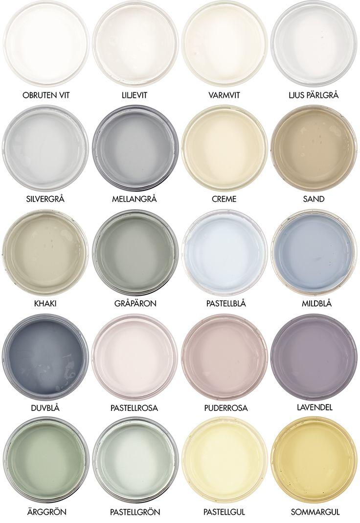 Byggfabrikens färgskala för naturlig väggfärg - utan plast, synteter och petrokemi. Colorchart for natural emulsion wallpaint. http://www.byggfabriken.com/sortiment/farg-och-ytbehandling/ekologisk-vaeggfaerg/