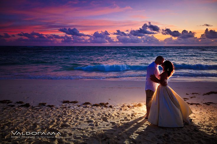 Destination wedding, sunrise, beach, Punta Cana, Dominican Republic, bride, groom, ocean