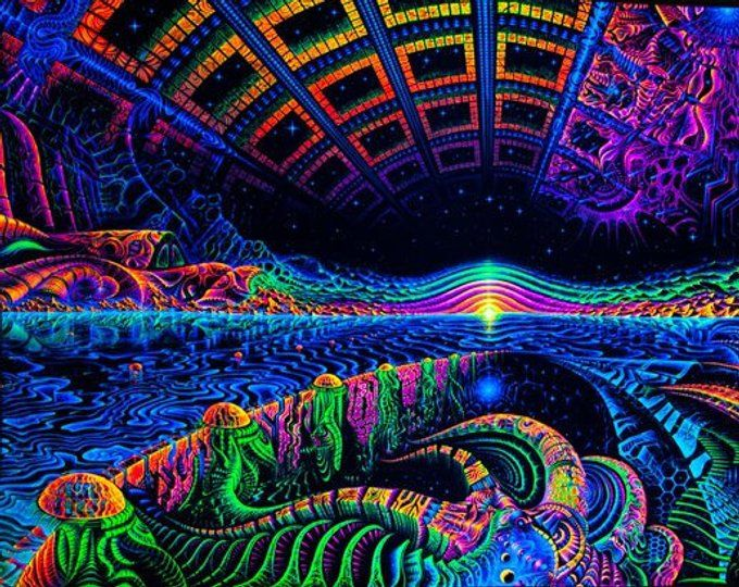 UV BACKDROP Visionary Art Psychedelic Blacklight wall hanging CyberPunk tapestry