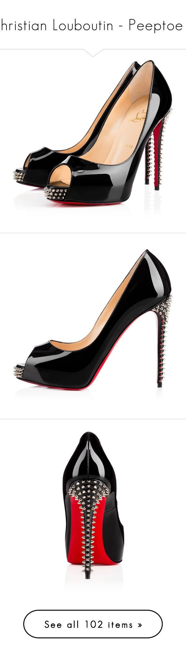 Christian Louboutin - Peeptoe 4 by enchantedxox ❤ liked on Polyvore featuring shoes, christian louboutin, heels, louboutin, black, black high heel shoes, spike shoes, summer shoes, patent leather shoes and spiked high heel shoes #stilettoheelsmistress