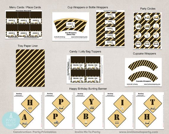 Construction Party Decoration Printables / by InviteMe2Party, $29.00