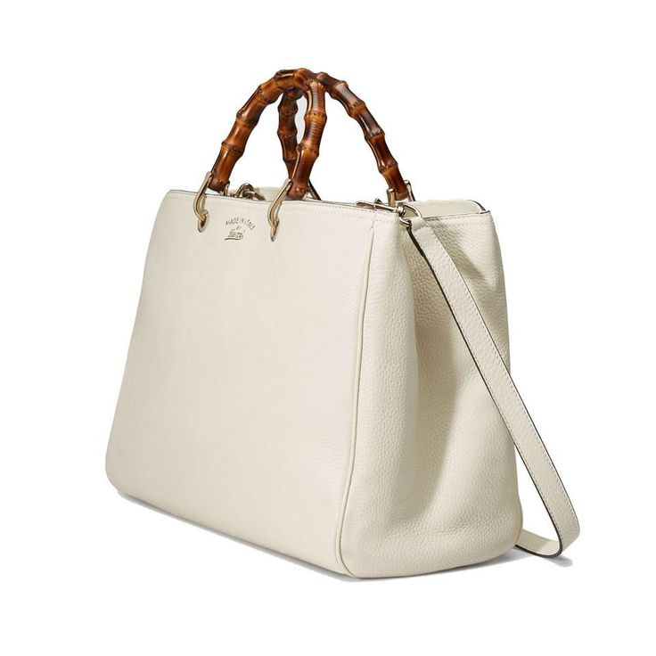 Gucci Bamboo Top Handle Leather Tote With Strap