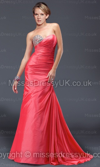 Trumpet/Mermaid Sweetheart Chiffon Floor-length Red Crystal Evening Dress