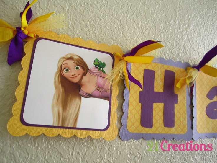 Tangled Birthday Banner--I can make this with my silhouette.