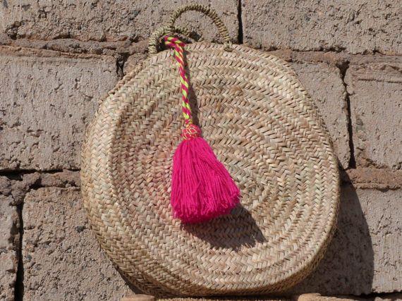 Want! Ronde stro tas cirkel straw tote, stro mand, Franse markt, strand tote, Marokkaanse mand, stro handtas, Frans mand, tas, natuurlijke zomer