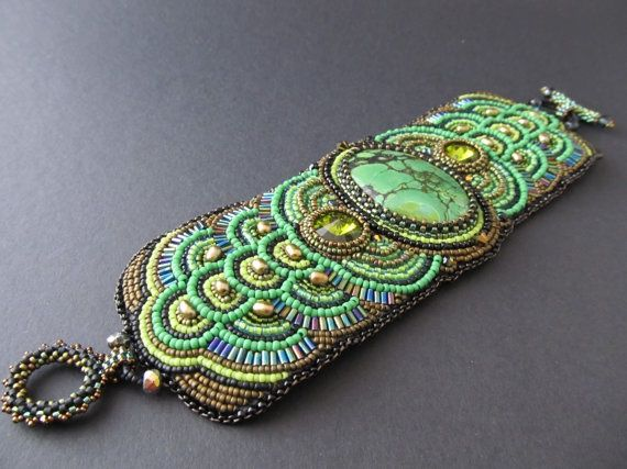embroidery cuff | Callais Bead Embroidered Green Turquoise Cuff | Baubles, bangles a...