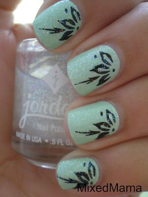 daintyNails Art, Mint Nails, Nails Design, Sorbet Flower, Flower Nails, Pretty Nails, Mint Flower, Black Flower, Mint Sorbet