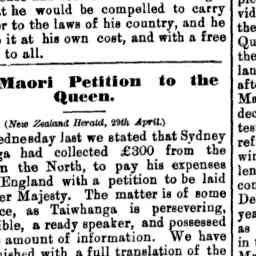 13 May 1882 - Taiwhanga's Petition to the Queen. (New Zealand He...