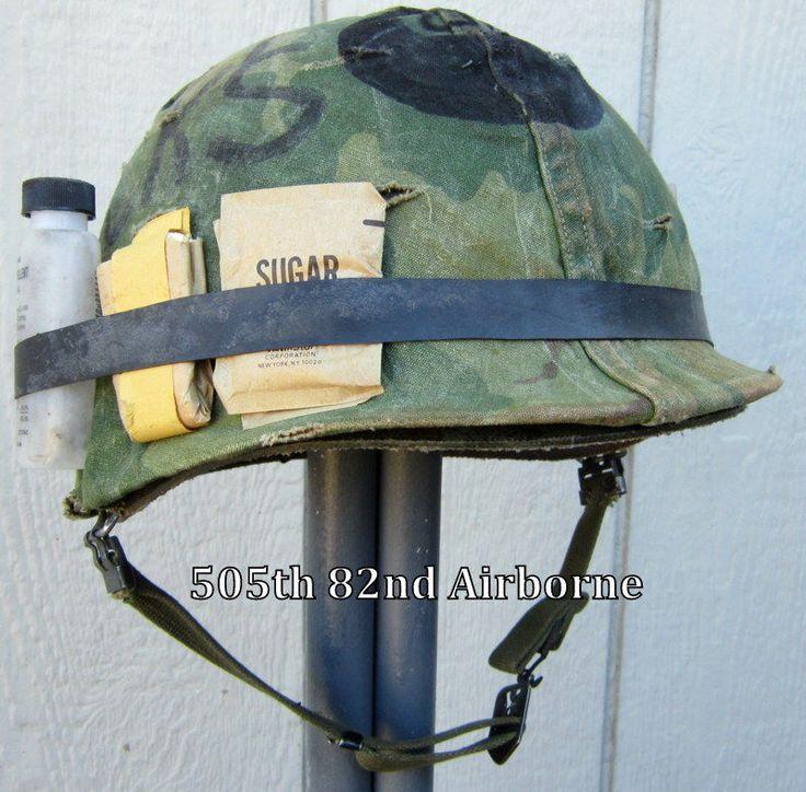 Vietnam M1 Helmet & 1967 Liner Band Camo Cover 8 Ball