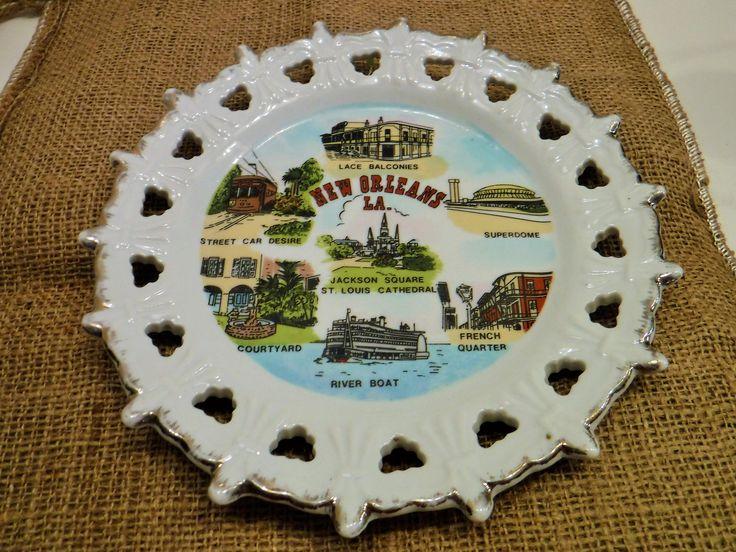 Louisiana Souvenir Plate, Souvenir State Collector's Plate Louisiana, New Orleans, Bourbon Street, Louisiana State Souvenir Plate, Superdome by BeautyMeetsTheEye on Etsy