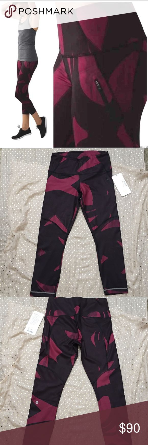 Lululemon All Sport Crop New With Tags, Size 6. Lululemon All Sport Crop in  - Back Spin Stroke Dashing Purple - color code: BSSD lululemon athletica Pants Leggings