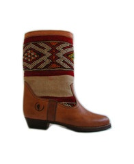 Atlas red and white - handmade leather and kilim