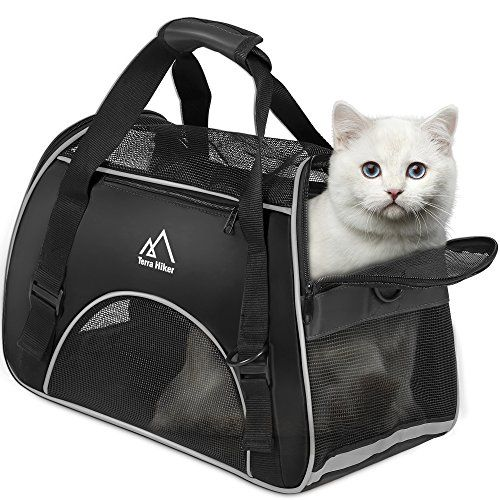 """Terra Hiker Small Pet Carrier, Airline Approved Carrier, Under Seat for Small Dogs and Cats, Travel Bag for Small Animals with Mesh Top and Sides AIRLINE APPROVED PET CARRIER: Measures 42 cm x 20 cm x 30 cm /16.5"""" x 7.9"""" x 11.8"""" (L x W x H); fits easily under most airline seats so that you can take your pet on your travels anywhere without the need for heartbreaking separations VENTED MESH TOP AND SIDES: To optimize ventilation and breathability, the carrier is designed with"""