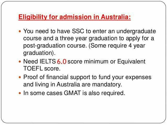 Eligibility for admission in Australia: SSC for UG course and 3 years bachelor's degree for PG course Financial documents for 1 year tuition fee + 1 year living expenses IELTS/TOEFL minimum 6.0 score mandatory Contact us for more details 923333216011 / +922135631610 WEBSITE : www.streamlinevisa.com EMAIL : info@streamlinevisa.com #overeaseducationconsultants #immigrationconsultants #studyabroadbestconsultantsinkarachi #studyinginAustralia