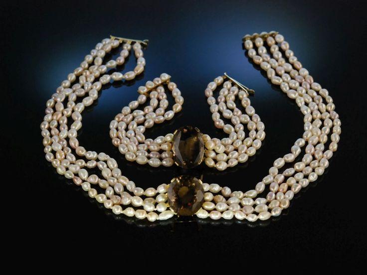 Lovely biwa pearl and smoky quarz necklace and bracelet! Apartes Schmuck Set! Collier und Armband Gold 585 Rauch Quarz Biwa Zucht Perlen