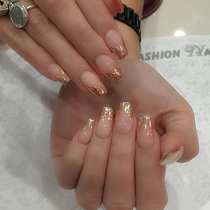 """163 Likes, 8 Comments - Roy (@roytruong1989) on Instagram: """"Sheer nude & chrome #miniballerina #nails #nailsonpoint pretty """""""