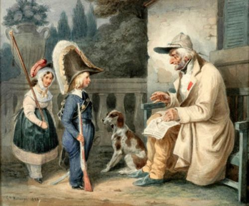 Hippolyte Bellangé (1800 – 1866, French) - Veteran and children