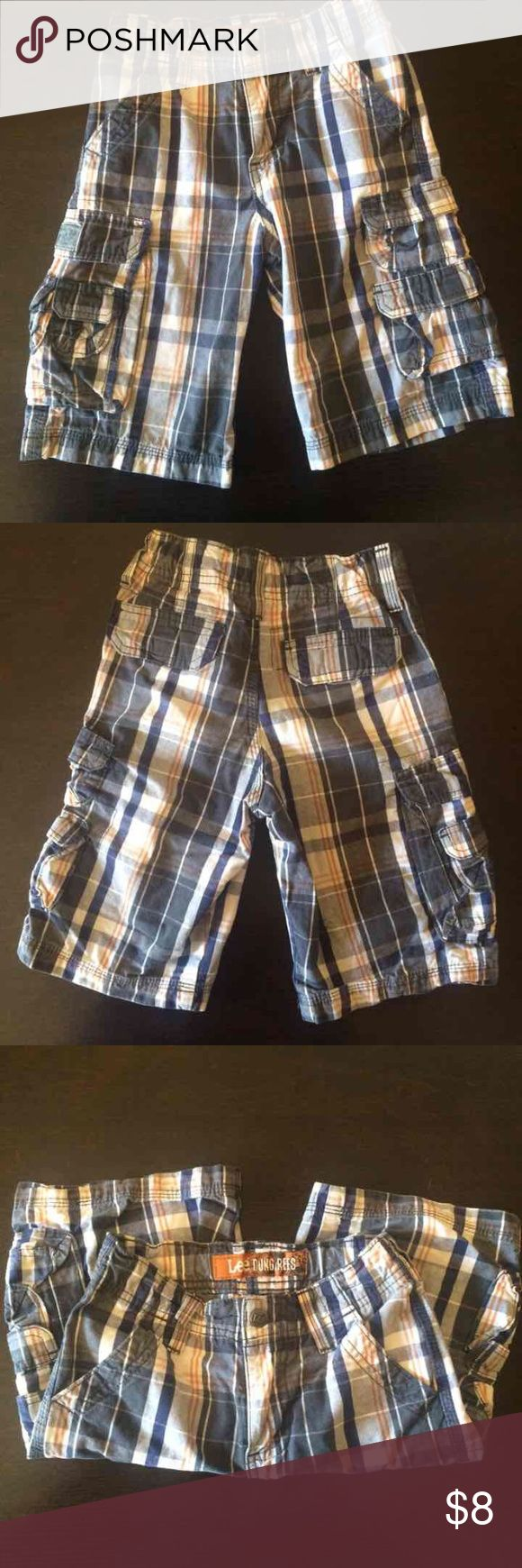 Boys Lee Dungarees Shorts Boys shorts. Color navy blue, white with orange. Size 6 Lee Bottoms Shorts