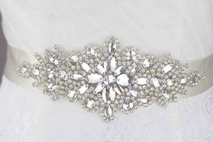 shiny weiß Transparent Gürtel Hochzeitskleid belt Strass Perlen Kristall Schärpe
