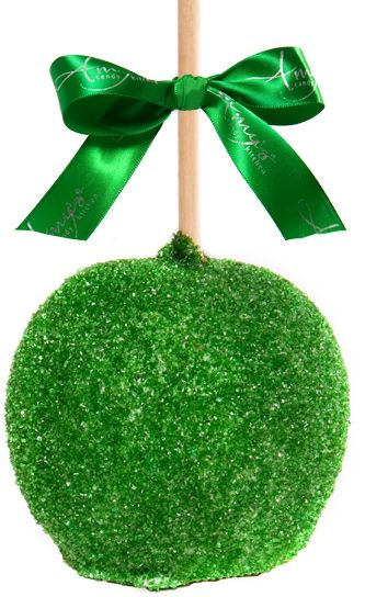Green caramel apple with Belgian white chocolate as a Christmas ornament