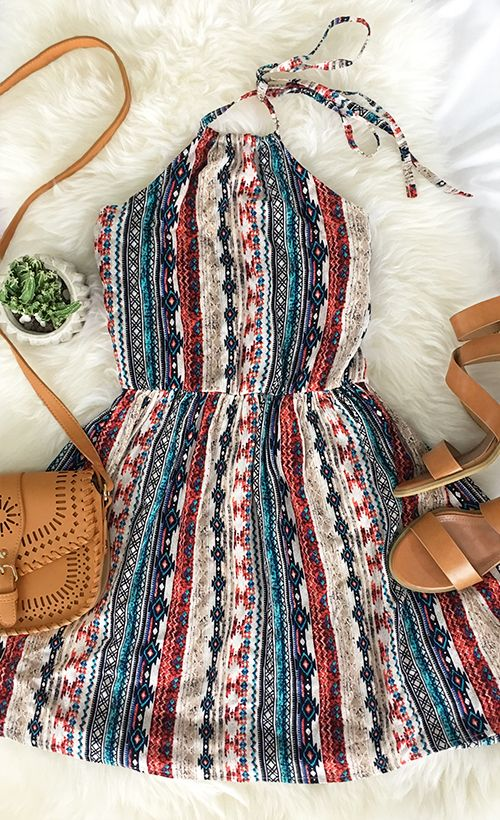 $22.99 Only with free shipping&easy return! This halter dress gonna stand you out with its festival stripe! Clear head, annoyance aside, Let's Party!