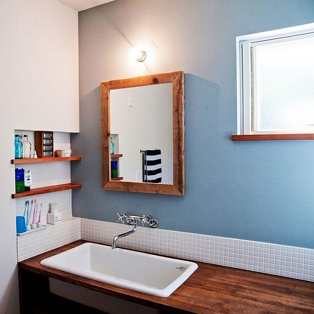 洗面所 タイル貼り 造作洗面台のまとめページ | RoomClip (ルームクリップ) 洗面所とタイル貼りとカクダイのインテリア実例