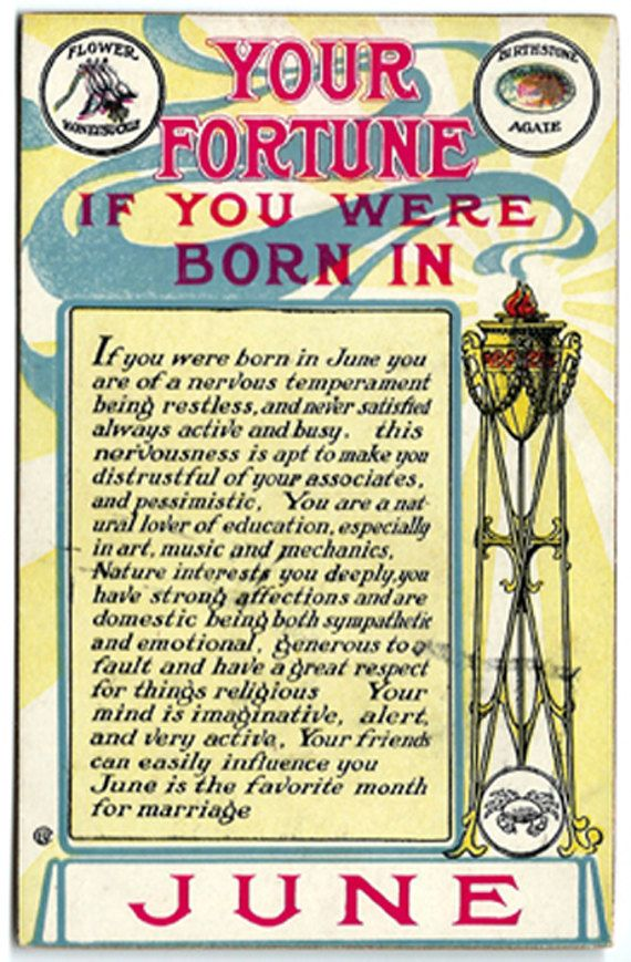 "Cancer Zodiac Sign♋. Gemini Zodiac Sign.  1909 Your Fortune If Born In June Postcard by OakwoodView on Etsy. ""Your Fortune If You Were Born in June""  Gives a description of the June personality, as well as the flower (honeysuckle) and birthstone (agate). Copyright 1909. A517. From the ""Your Fortune"" series published by M.T. Sheahan."