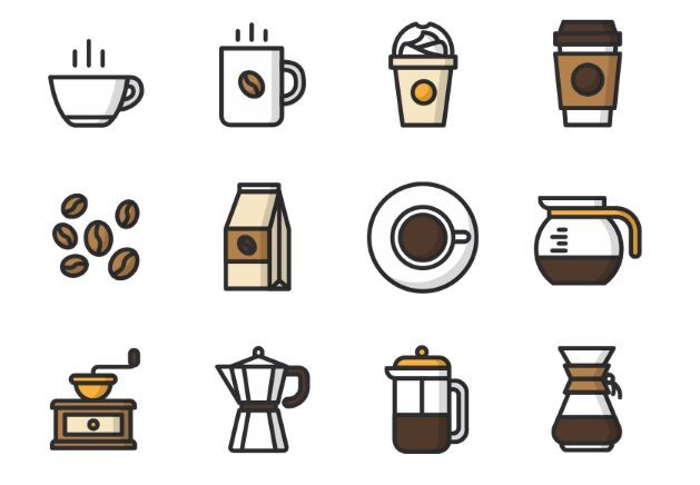 12 Vector Coffee Icons would be great tattoos