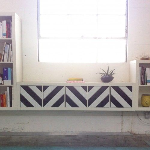IKEA hack: chevron pattern on expedit / kallax doors