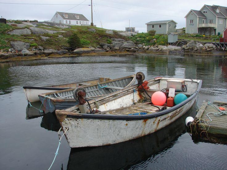 Rowboats tied up at Peggy's Cove, Nova Scotia.