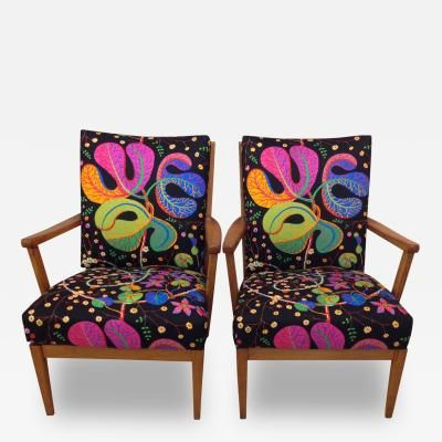 "Carl Malmsten ""Stugan"" Cottage Armchairs with Josef Frank Fabric, Sweden 1950's by C..."