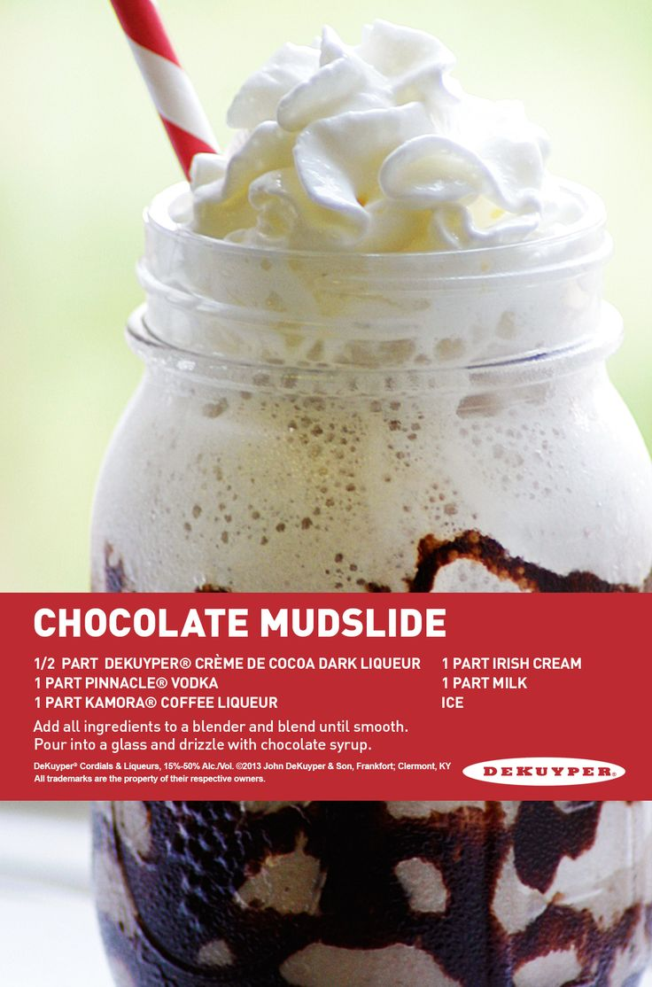 Chocolate Mudslide with creme de cocoa, vodka, coffee ...