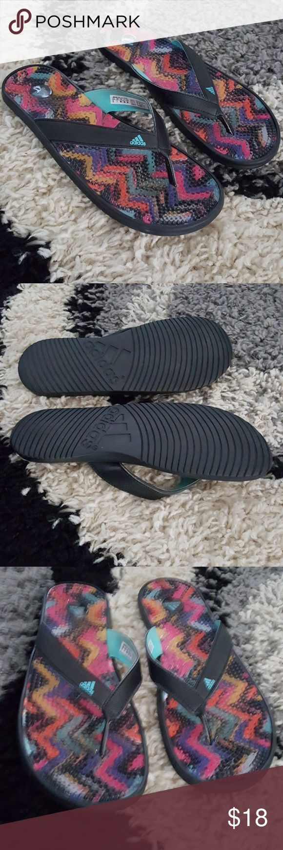 Bogo New Adidas Flip flops cute flops new and never worn, veey comfortable with the soft gel massagers inside will fit size 9 through 10 but marked as a mens 8 good to wear around the pool or with shorts adidas Shoes