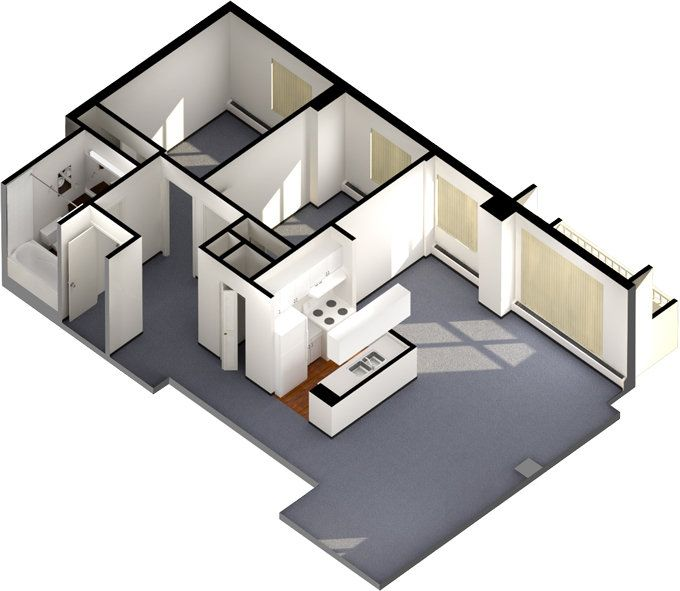 A 3D floorplan for a two-bedroom unit in Newton Place. #ualberta