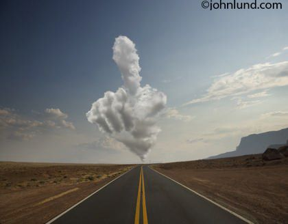 clouds shaped like animals | Remote road with cloud shaped like a hand