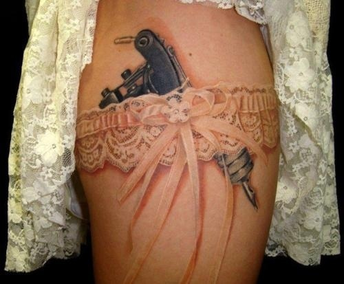 With a revolver instead of the tattoo gun...but love the garter