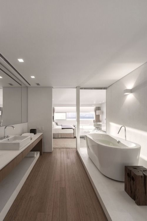 Master bedroom and bath with standalone bathtub - Decoist