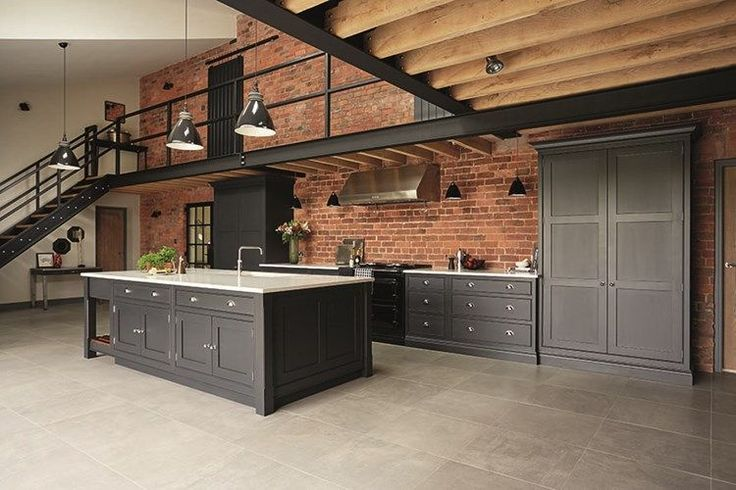 Industrial style shaker kitchen tom howley kitchen for Attic kitchen designs
