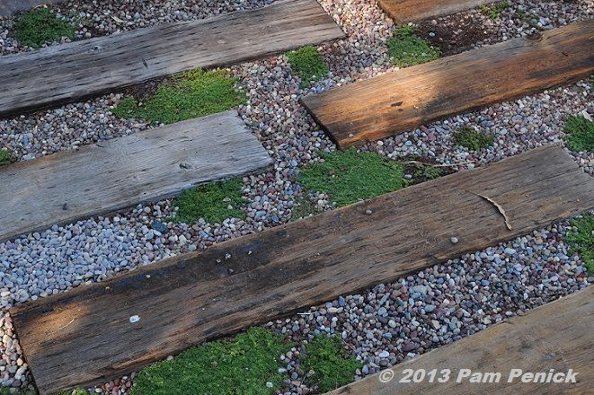 California living in the Testa-Vought Garden: Garden path with landscaping timbers and gravel