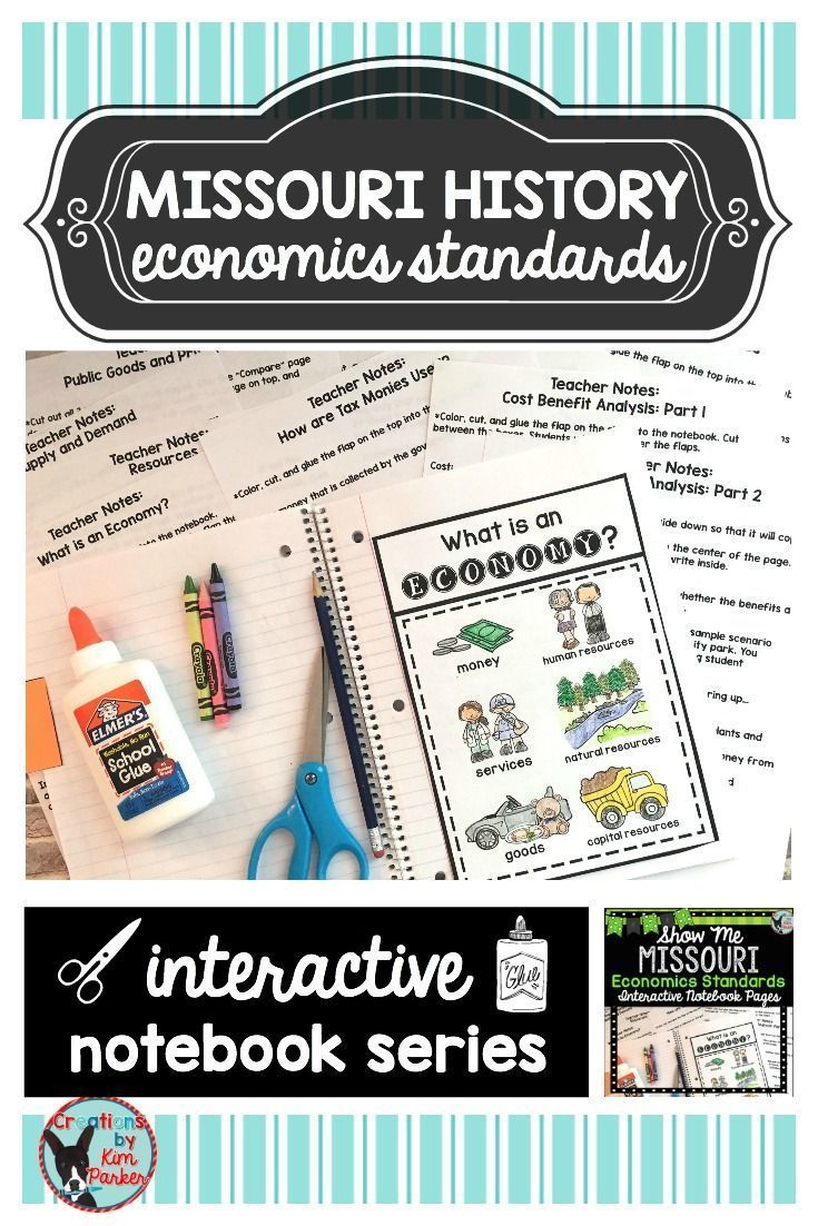 $ Using this Missouri History- Economics Standards Interactive Notebook is a great way to teach your students all about Missouri history. The contents of this resource address the economics grade level expectations of the Missouri 3rd Grade Learning Standards. This resource contains 10 interactive notebook pages (plus a unit cover page) with teacher notes and sample pictures for each page. $