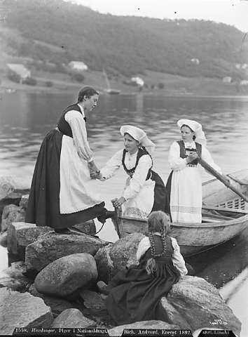 Modern Viking women. Coastal Life in the Southern Region of Norway at the End of the 19th Ct. Hardangerfjord.
