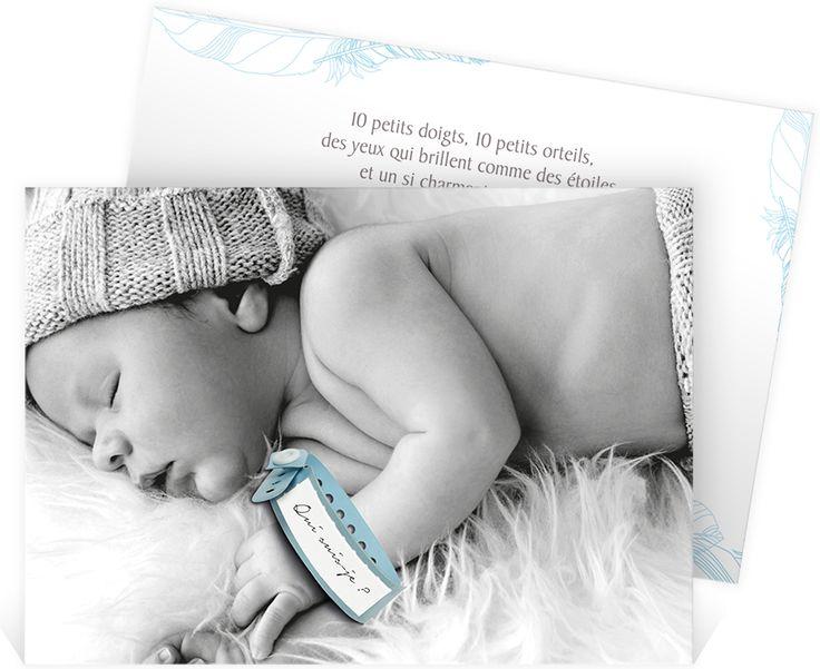 Faire part naissance bracelet pour une annonce douce sous le signe de l'originalité avec le bracelet de naissance de votre petit, ref N14166