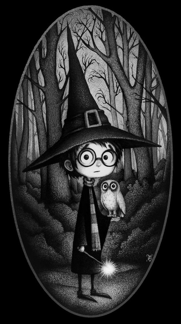 The Forbidden Forest. Artists paying tribute to Harry Potter - very much worth a click through! I had trouble choosing an image to pin.