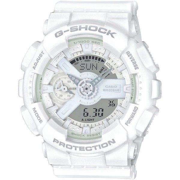 G-Shock Women's Analog-Digital Whiteout White Bracelet Watch 49x46mm... ($130) ❤ liked on Polyvore featuring jewelry, watches, white, white jewelry, white bracelet watch, analog digital watches, watch bracelet and white watches