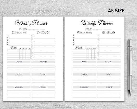 A5 Weekly Planner Printable, Weekly Organizer, Weekly Schedule, Desk