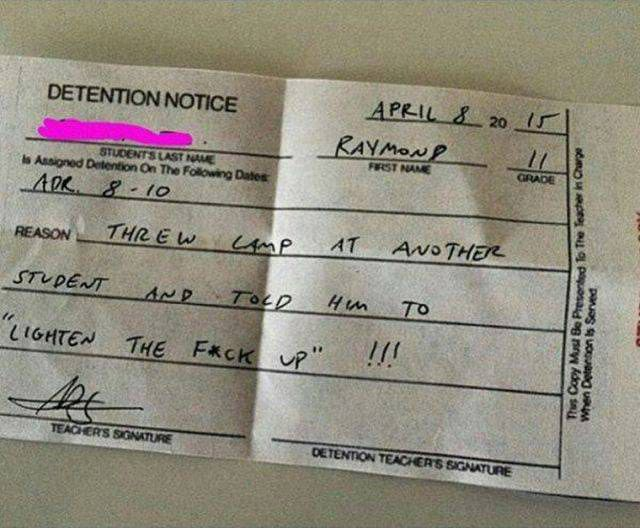 Hilarious Detention Slips You Won't Believe (12 Photos)