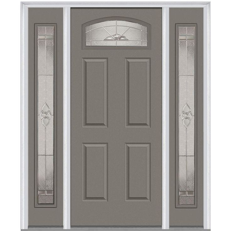 mmi door 60 in x 80 in master nouveau left hand 14 lite classic painted fiberglass smooth prehung front door with sidelites steel exterior