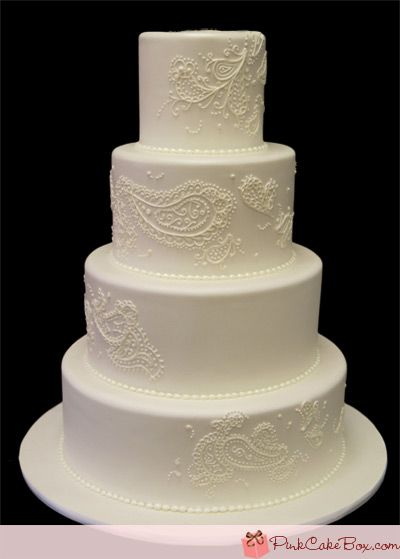 White Paisley Wedding Cake » Wedding Cakes