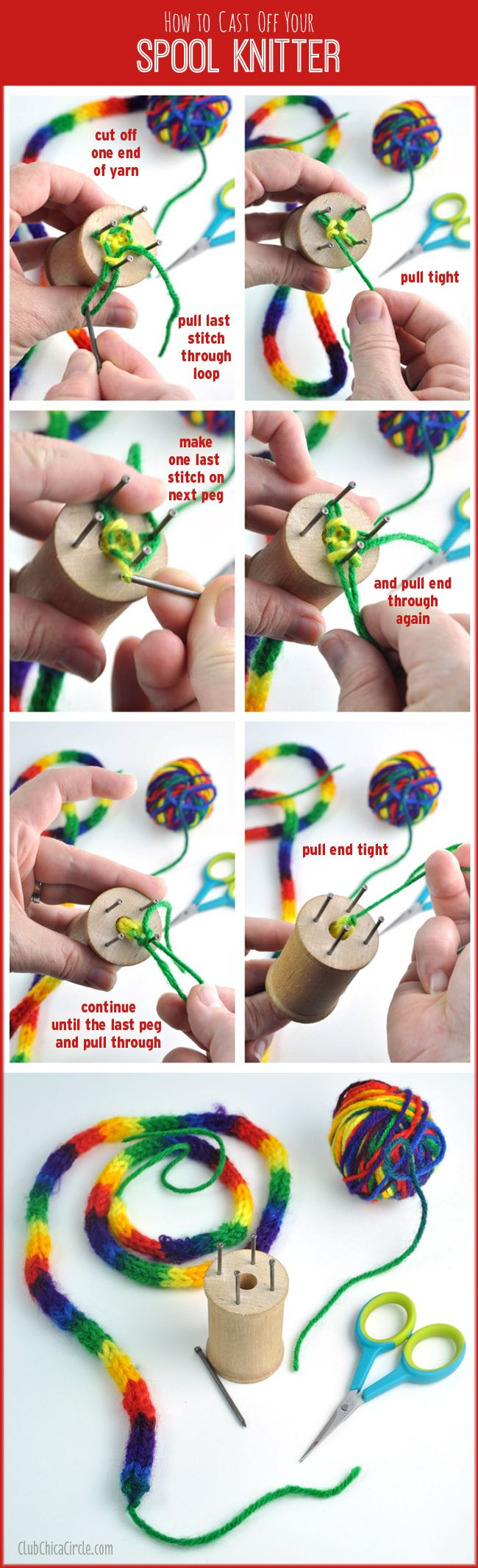 How to Cast Off your homemade Spool Knitter